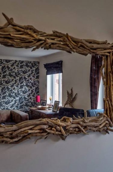 Large driftwood mirror