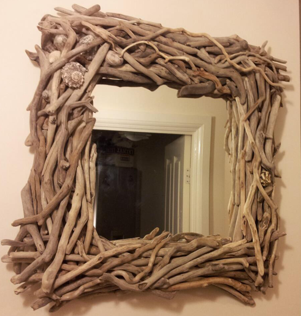 Square Driftwood Mirror with Shells; Square Mirror; Square Driftwood Mirror; Driftwood Mirror with Shells; Shell Mirror
