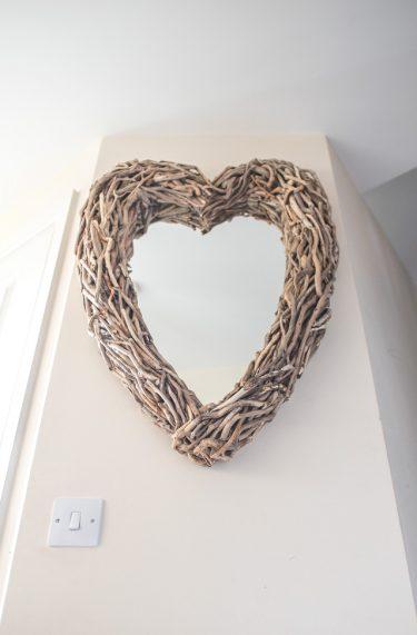 Driftwood Heart Mirror Hall Portrait