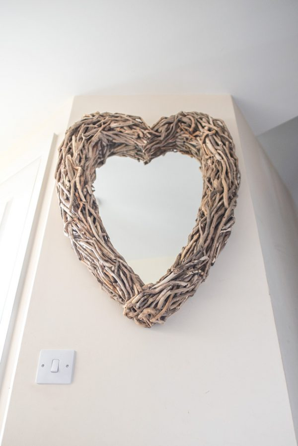 Driftwood Heart Mirror Hall Portrait