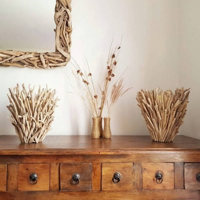 Pair of driftwood candle holders